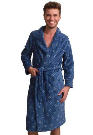 Modieuze blauwe heren kamerjas in fleece