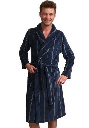 Blauwe heren kamerjas in fleece – streepmotief