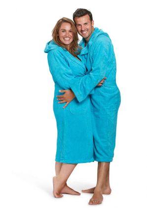 capuchon badjas badstof aquablauw badrock
