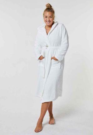 Witte fleece badjas met capuchon