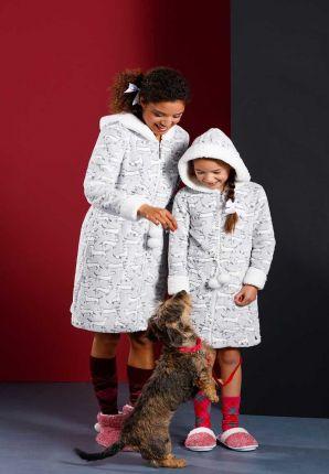 Kinderochtendjas in fleece teckel