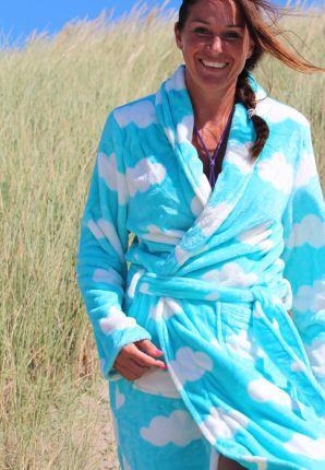 damesbadjas met wolkenmotief