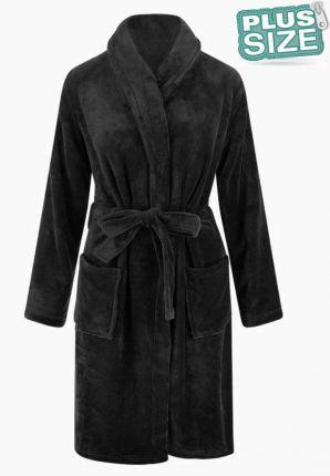 fleece badjas in plus size maten - grote maten badjas van fleece met sjaalkraag - zwart - relax company