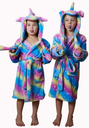 Unicorn kinderbadjas in fleece
