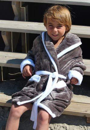 Kinderbadjas grijs