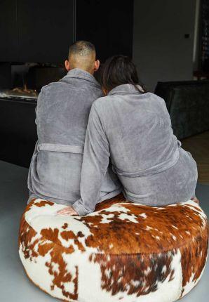 Lichtgrijze/taupe kamerjas in fleece