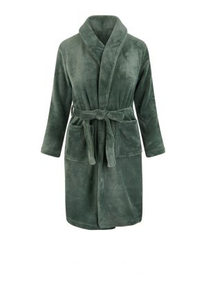 Olijf groene kinderbadjas in fleece