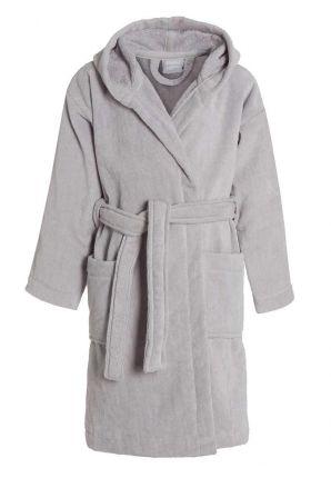 Licht grijze kinderbadjas met kap