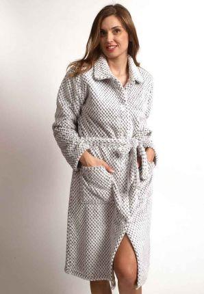 Licht grijze ochtendjas met knopen | stijlvol & betaalbaar
