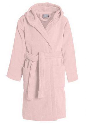 Pastel roze kinderbadjas met kap