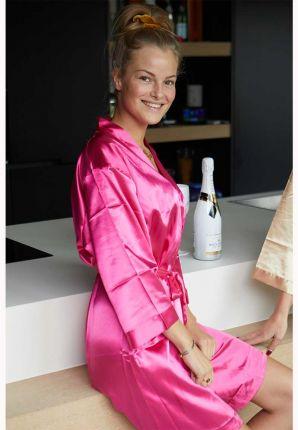Fuchsia roze badjas in kimono model