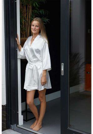 Witte badjas in kimono model