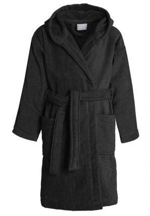 Zwarte kinderbadjas met kap