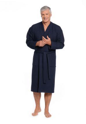 Piqué kimono donkerblauw