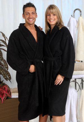 grote maten badjas badstof - zwart