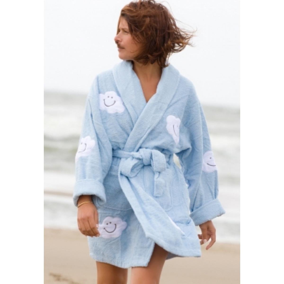 Lichtblauwe dames-badjas