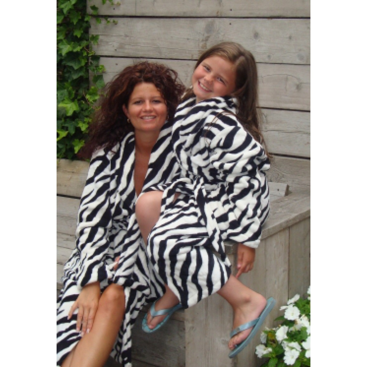 Fleece badjas zebramotief
