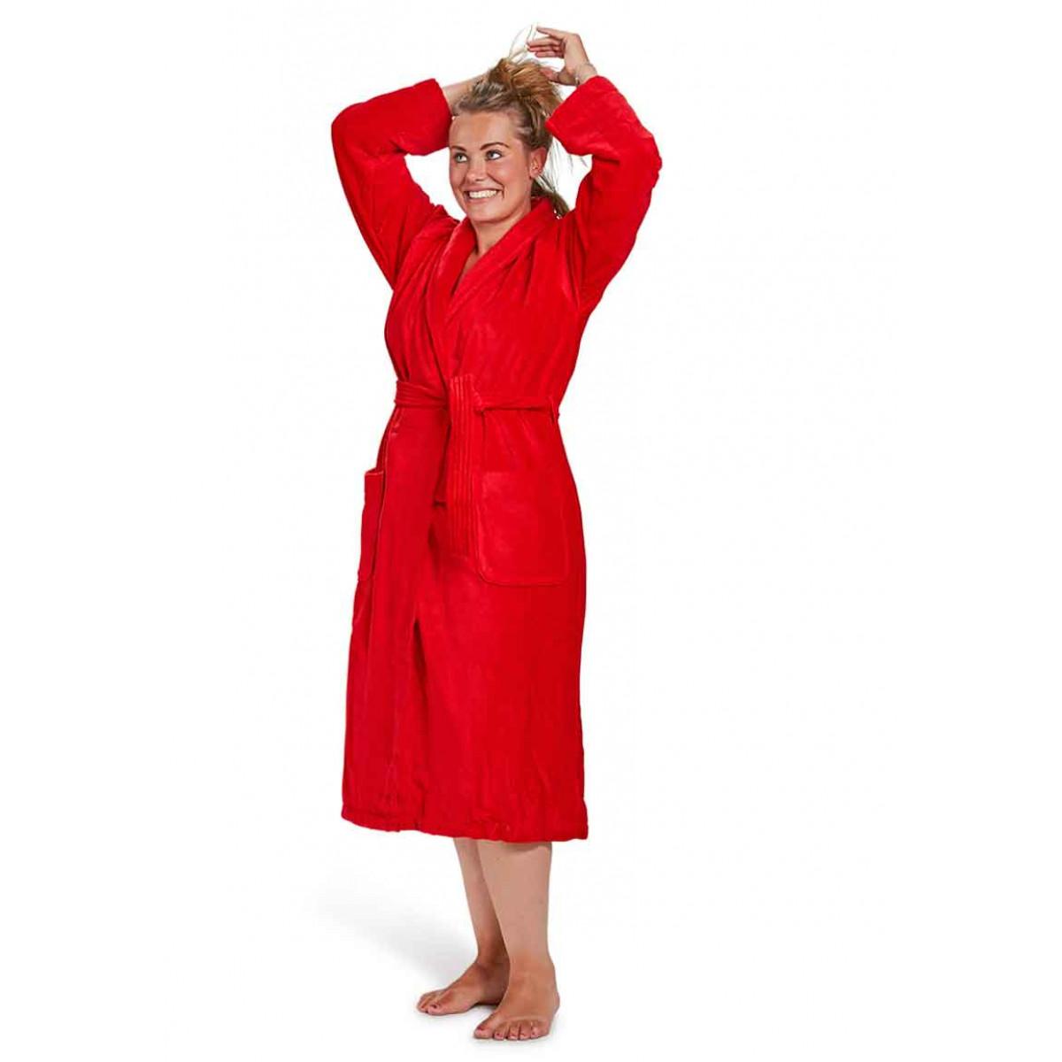 Badjas dames rood badrock