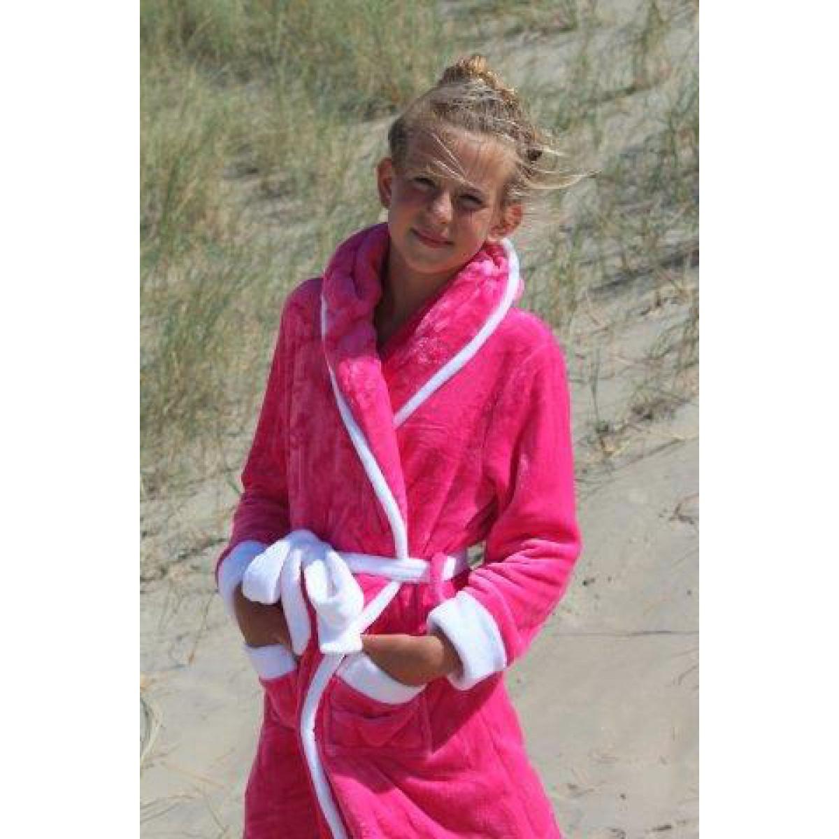 Roze kinderbadjas met capuchon