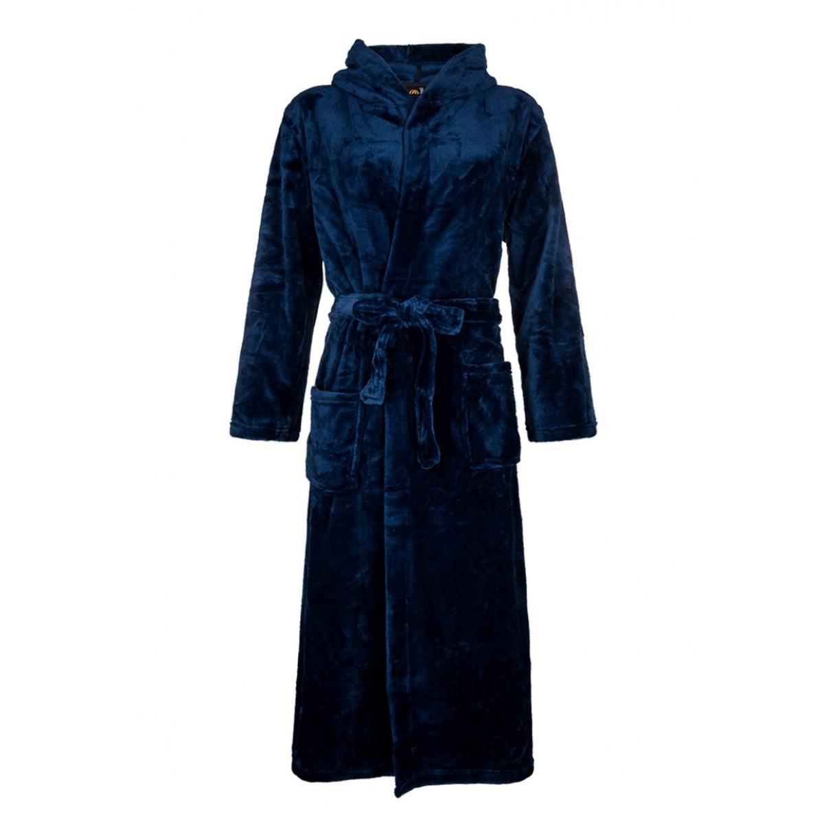 fleece ochtendjas blauw