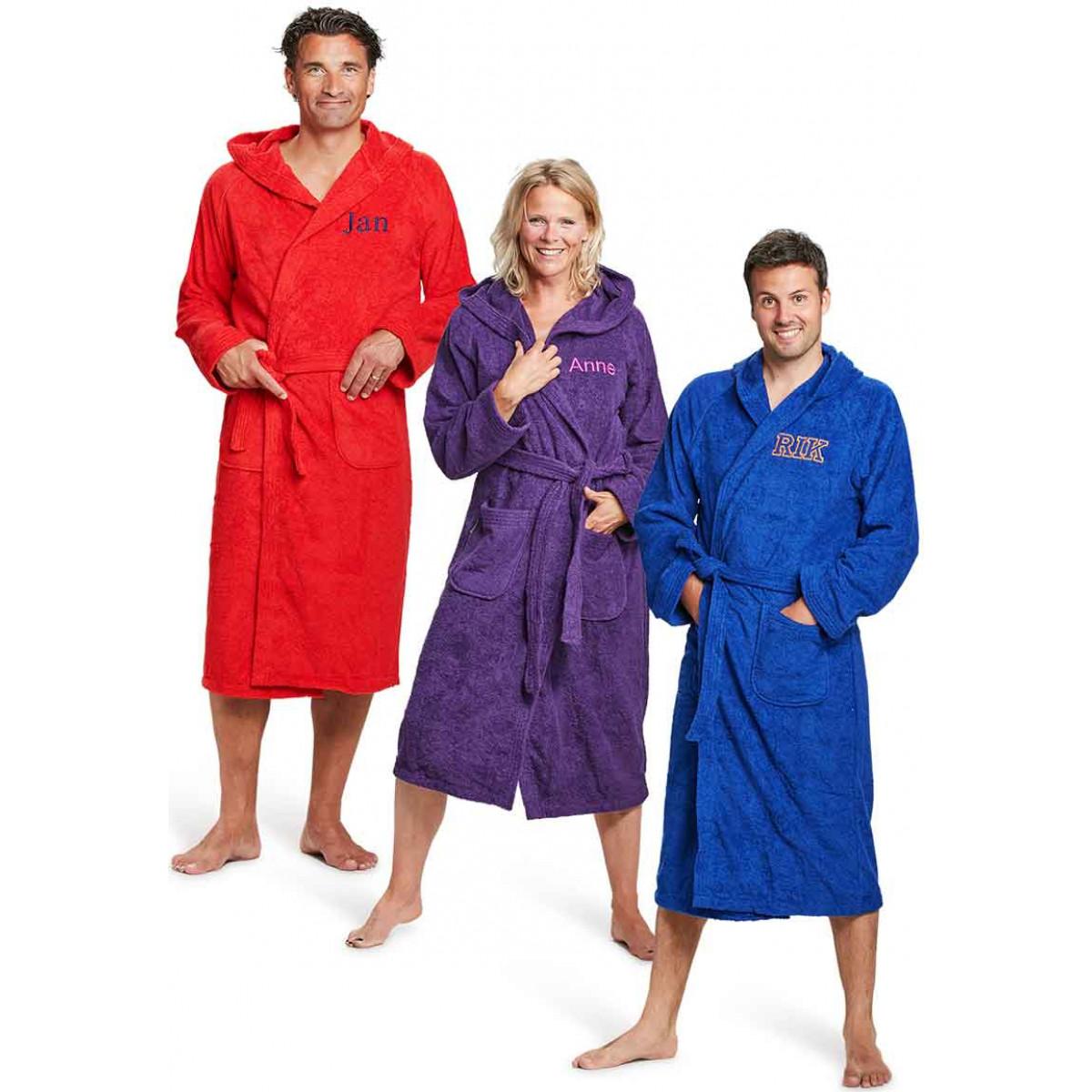 Badjas met kap borduren - 9 kleuren