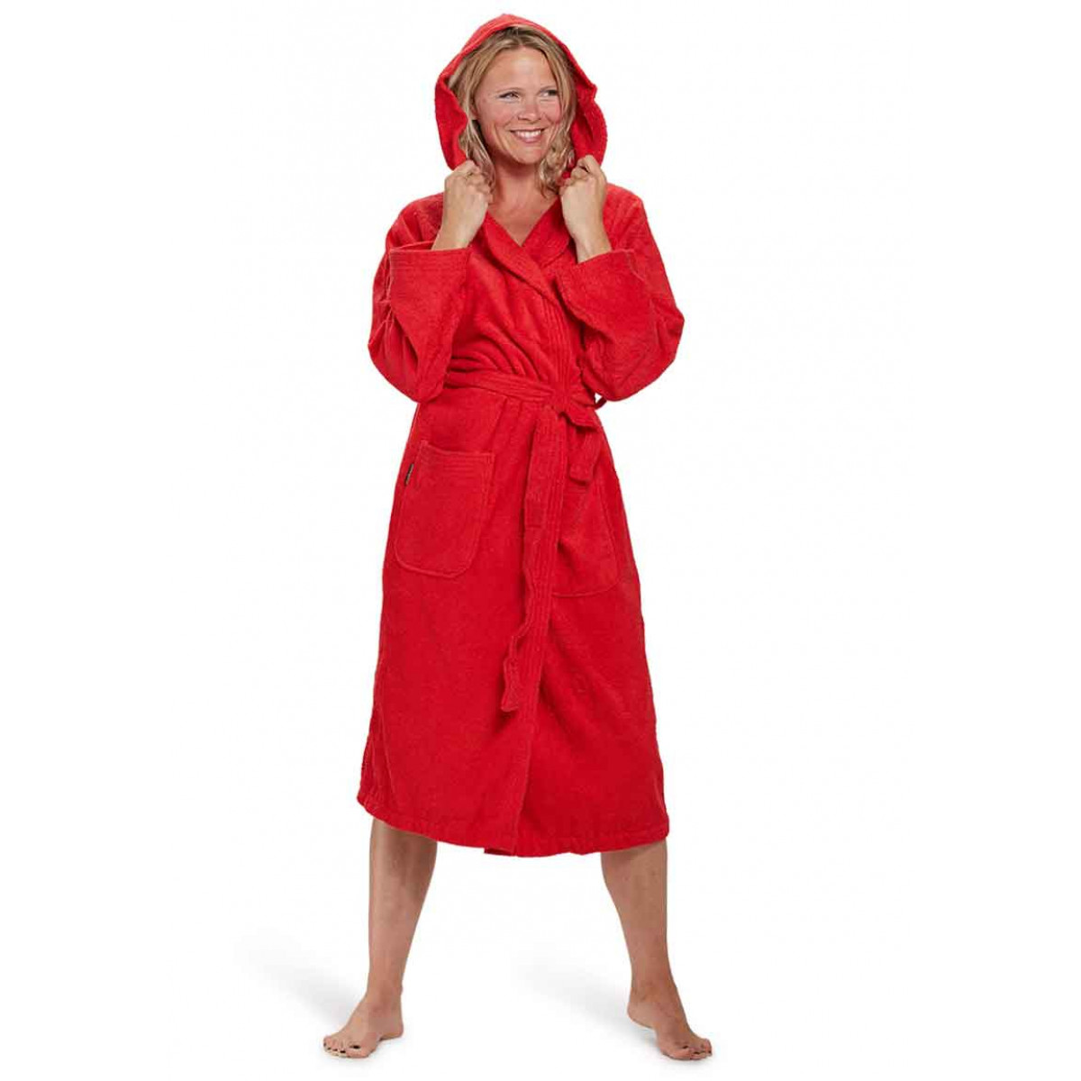 capuchon badjas dames badrock rood