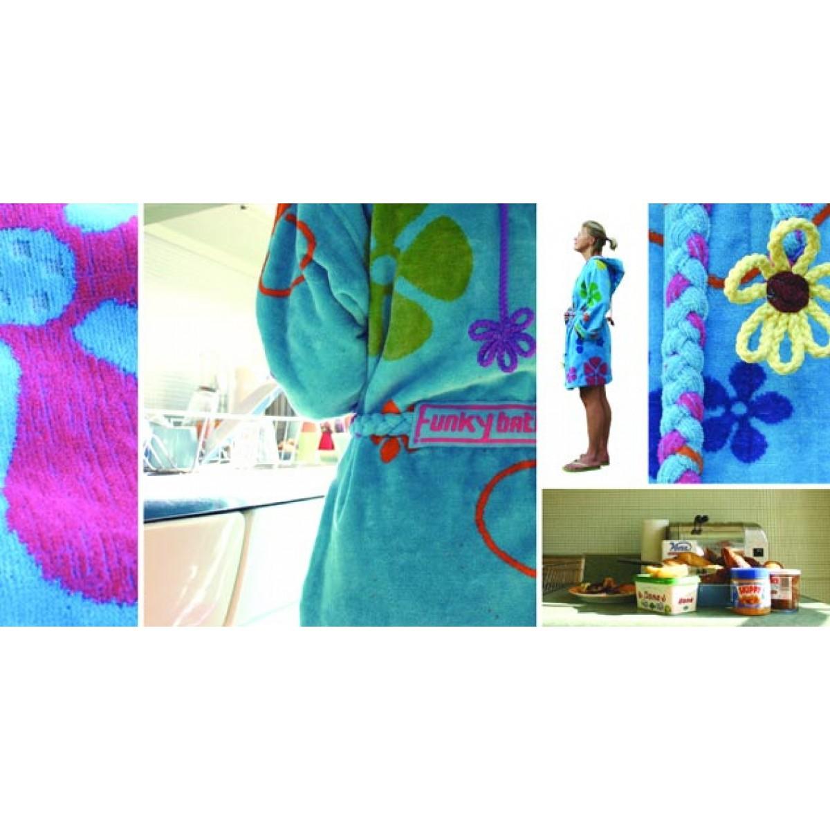 bloemen badjas blauw