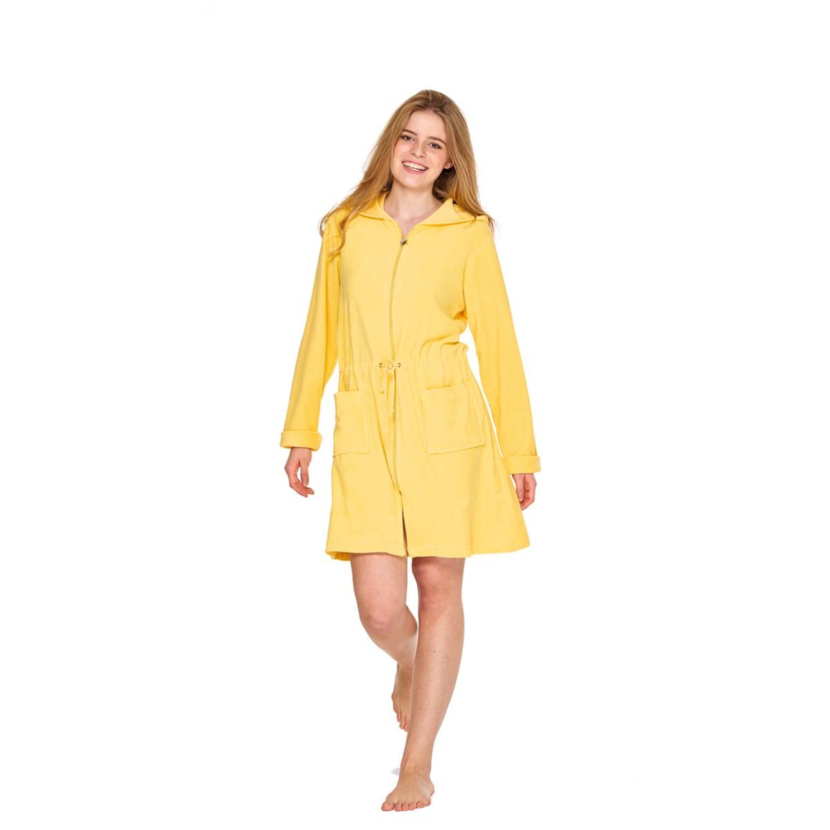 korte badjas met rits geel