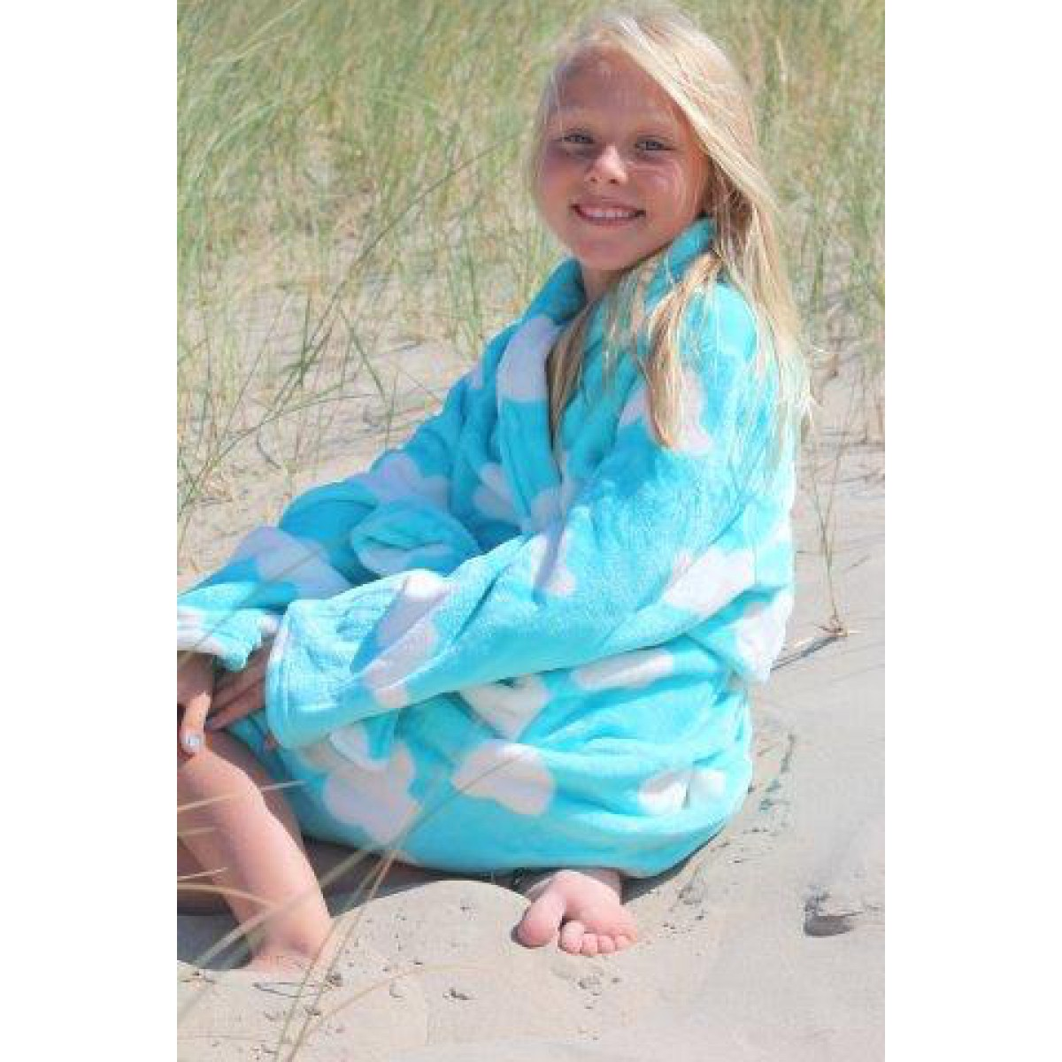 lichtblauwe kinderbadjas