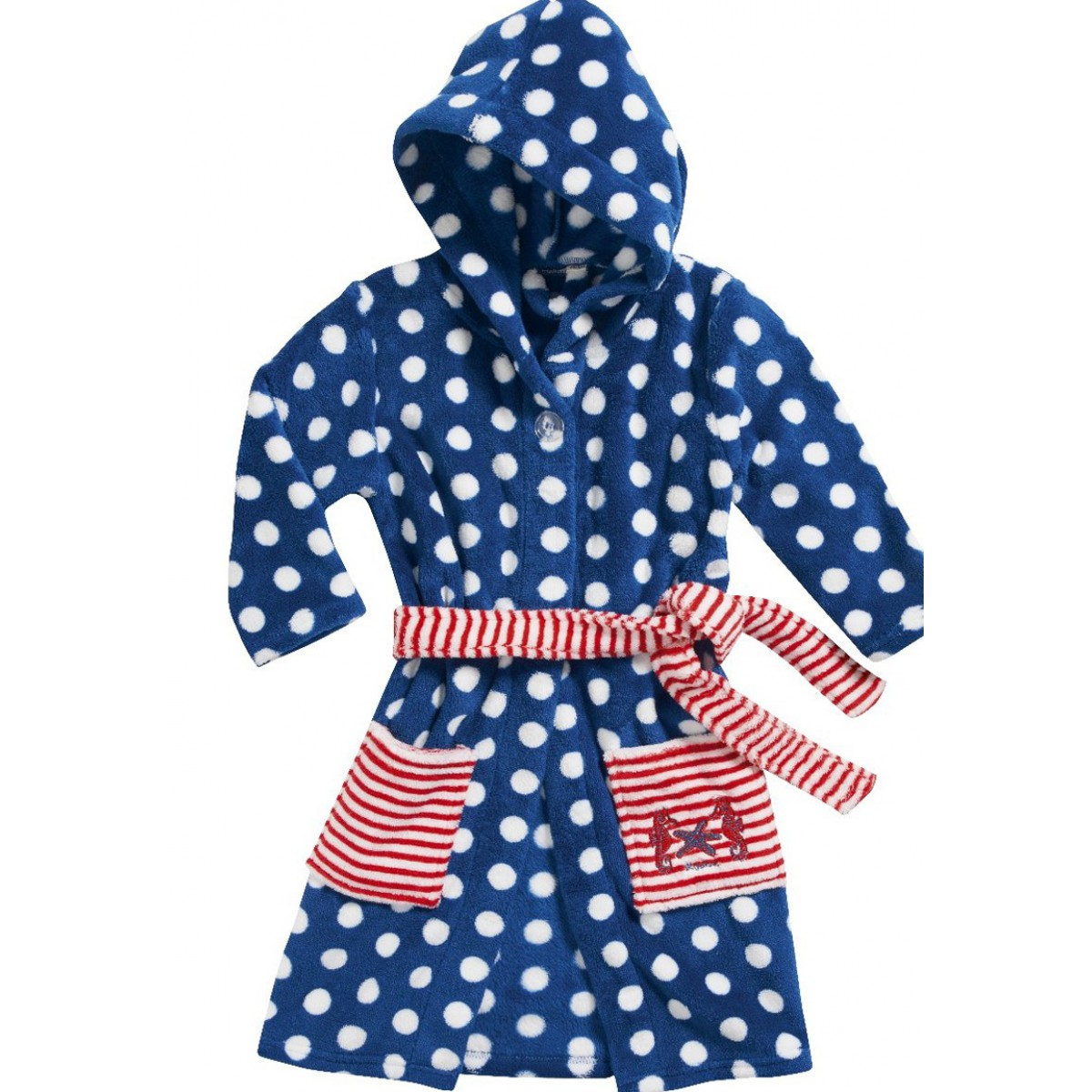 Fleece kinderbadjas stipjes