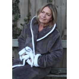 Fleece badjas met capuchon - grijs