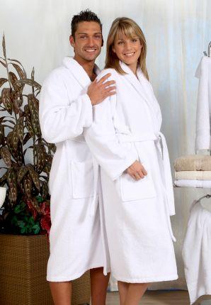Grote maten badjas badstof - wit